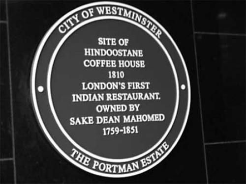 """In 2005 the Lord Mayor of Westminster unveiled a plaque marking the spot where Mahomed's restaurant stood, at 102 George Street.  The Epicures Almanak of the day had described it as a place """"for the nobility and Gentry, where they might enjoy the Hookha with real Chilm tobacco and Indian dishes of the highest perfection""""."""