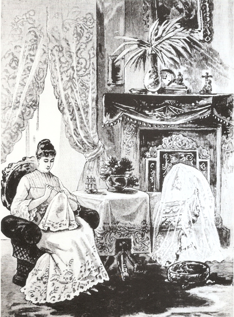 Traditionally females have been associated with needlework and embroidery. This frontispiece comes from Needlecraft: Artistic and Practical, 1889